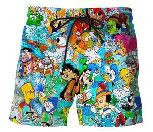 3D Printed stoned toons 90s Cartoon collage Men Shorts Harajuku Fashion Shorts Male/Female summer Casual shorts Drop shipping