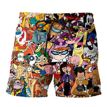 Load image into Gallery viewer, 3D Printed stoned toons 90s Cartoon collage Men Shorts Harajuku Fashion Shorts Male/Female summer Casual shorts Drop shipping