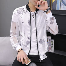 Load image into Gallery viewer, Casual Feather Print Bomber Jacket Slim Fit Hollow Out Thin Outwear Coats Men 2019 Summer Jackets Men Sun-protective Clothing