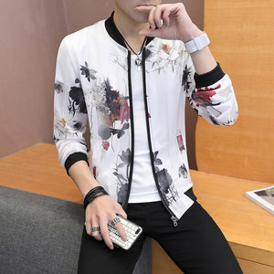 Casual Feather Print Bomber Jacket Slim Fit Hollow Out Thin Outwear Coats Men 2019 Summer Jackets Men Sun-protective Clothing