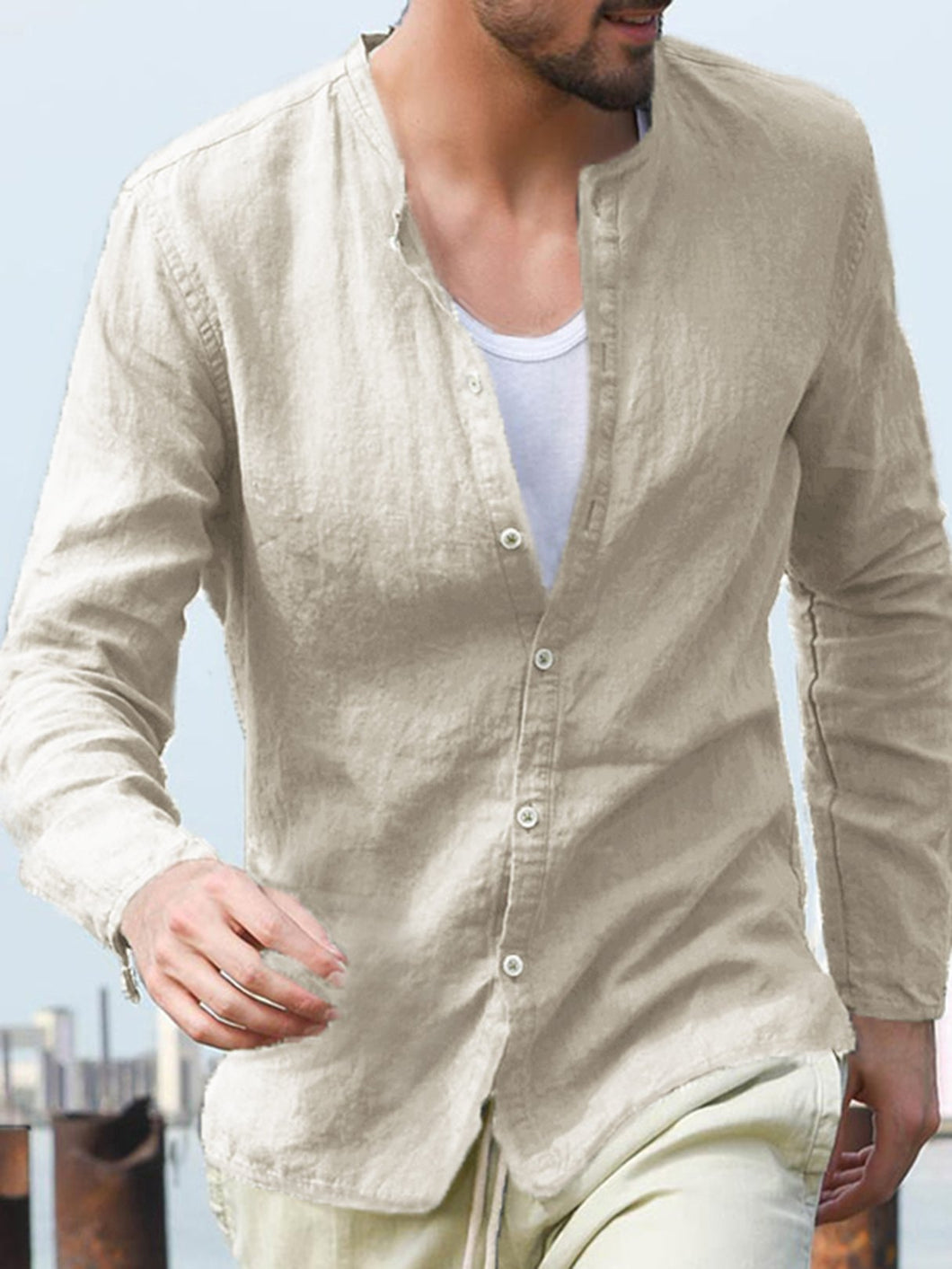 Mens 100% Cotton Fashion Brief Solid Color Long Sleeve Loose Casual Shirt