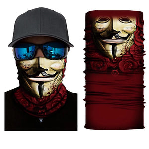 Neck Gaiter/Face Mask - Guy Fawkes w/Roses-Accessories-MN Mean Merch