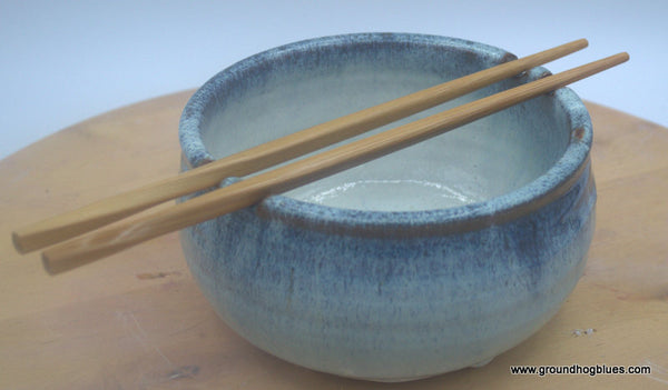 Rice Bowl with Chop Sticks Teal Blue over Cream