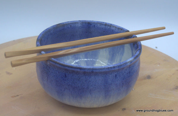 Rice Bowl with Chop Sticks  Blue over Cream