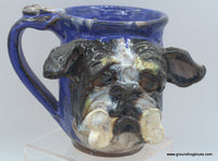 Bulldog with Bone Mug on Cobalt Blue