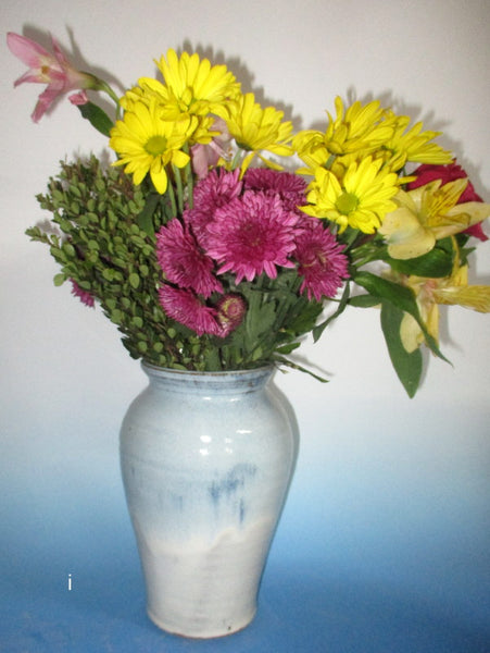 Teal Blue over Cream Vase Large