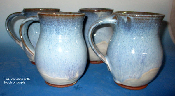 Large Mug Teal over White