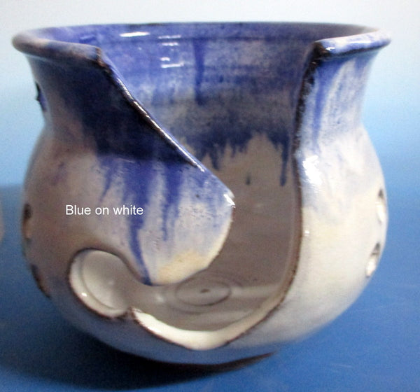Yarn Bowl Blue over white