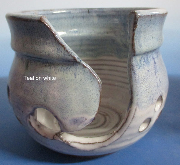 Yarn Bowl Teal Blue over white