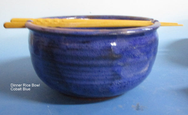 Dinner Size Rice Bowl Cobalt Blue