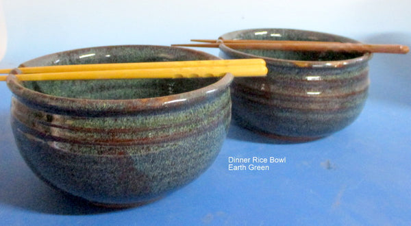 Dinner Size Rice Bowl Earth Green