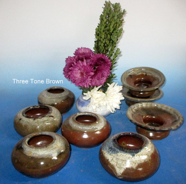 Ikebana Three Tone Browns Round