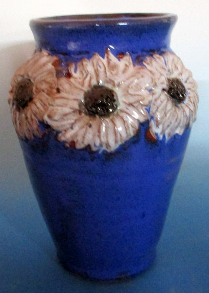 Cobalt Blue with Sculpted Daisies Flowers Vase