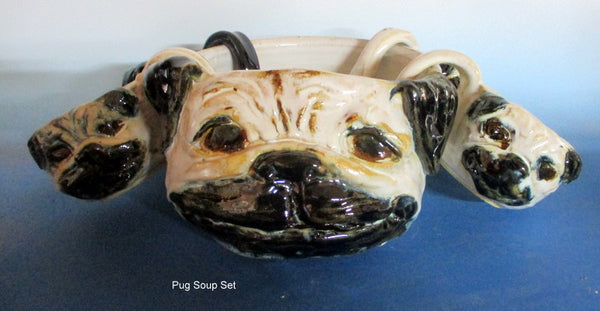 Pug Bowl Set with 4 puglet cups