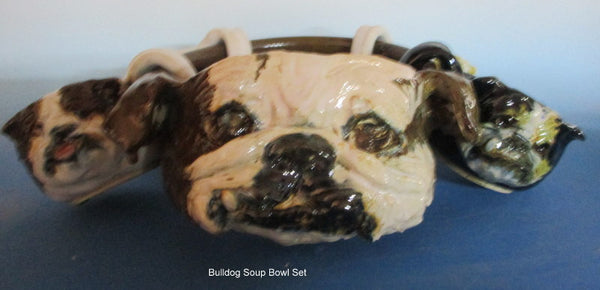 Bulldog Bowl Set with 4 Bully Cups