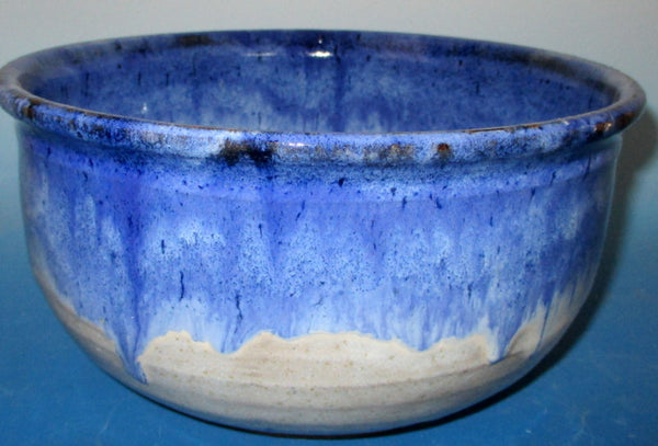 Very Large Cobalt Blue over White Bread Bowl