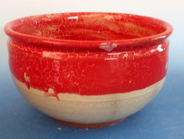 Red over White Large Serving Bowl