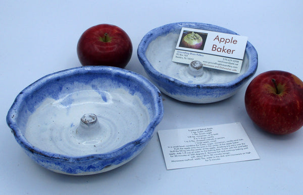 Apple Baker with instructions Three tone Blue WHite