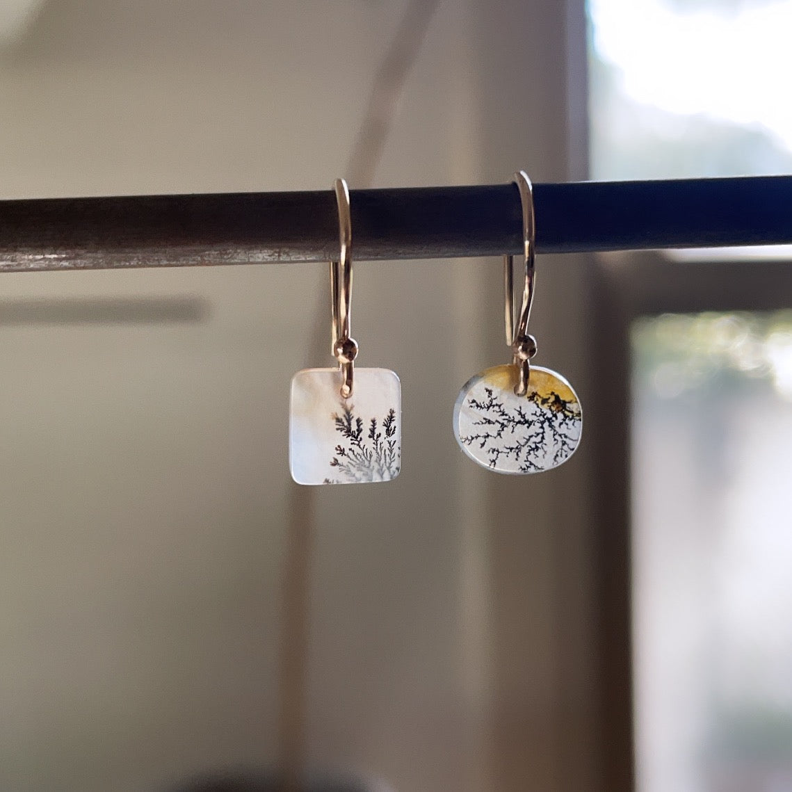 Reaching out dendritic agate earrings-serena kojimoto studio