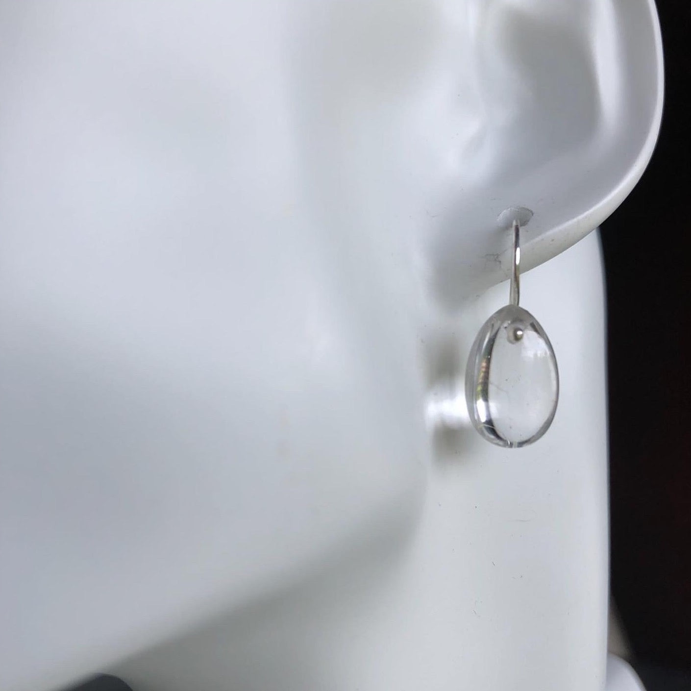Egg Drops earrings in clear quartz-serena kojimoto studio