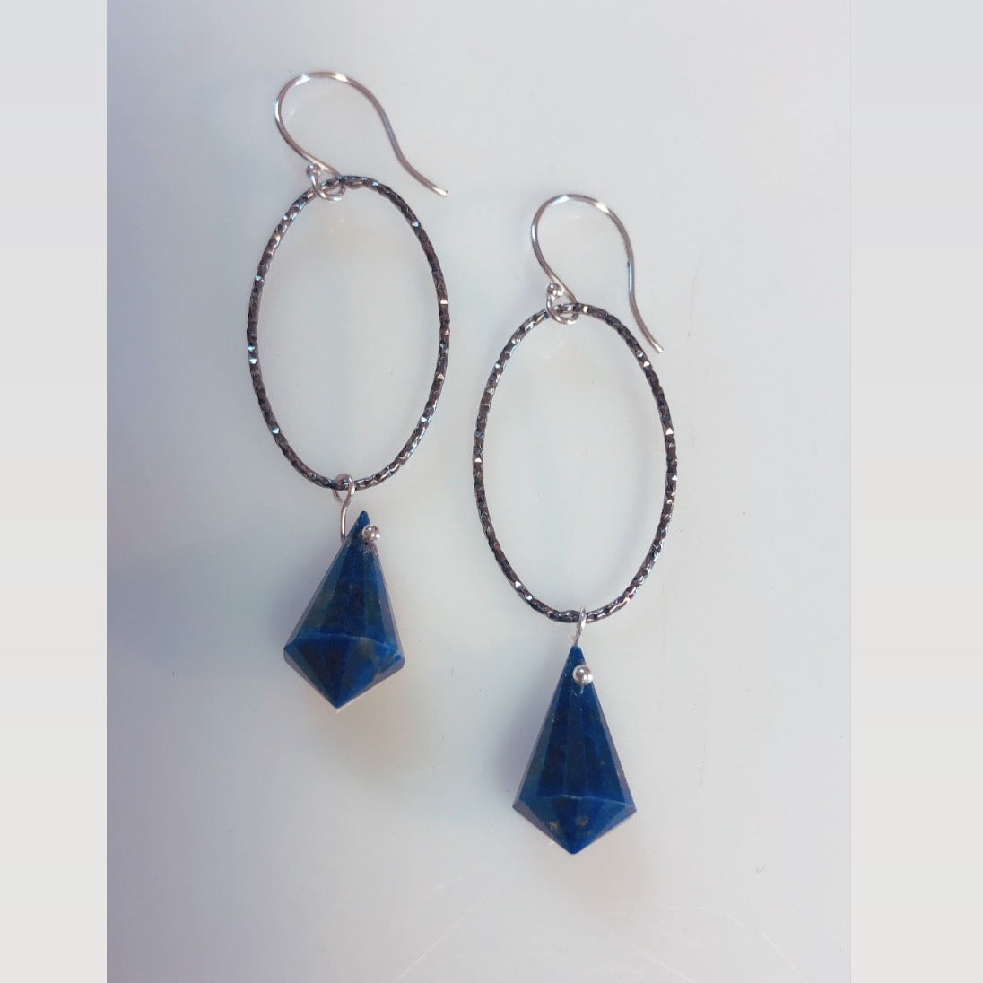 Oxi Oval Fancy lapis earrings-serena kojimoto studio