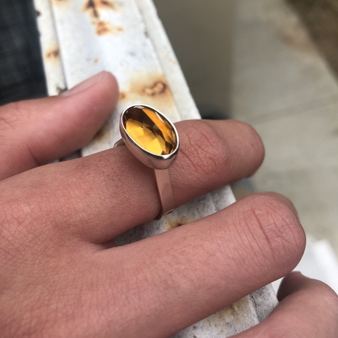 High seat oval citrine ring-serena kojimoto studio