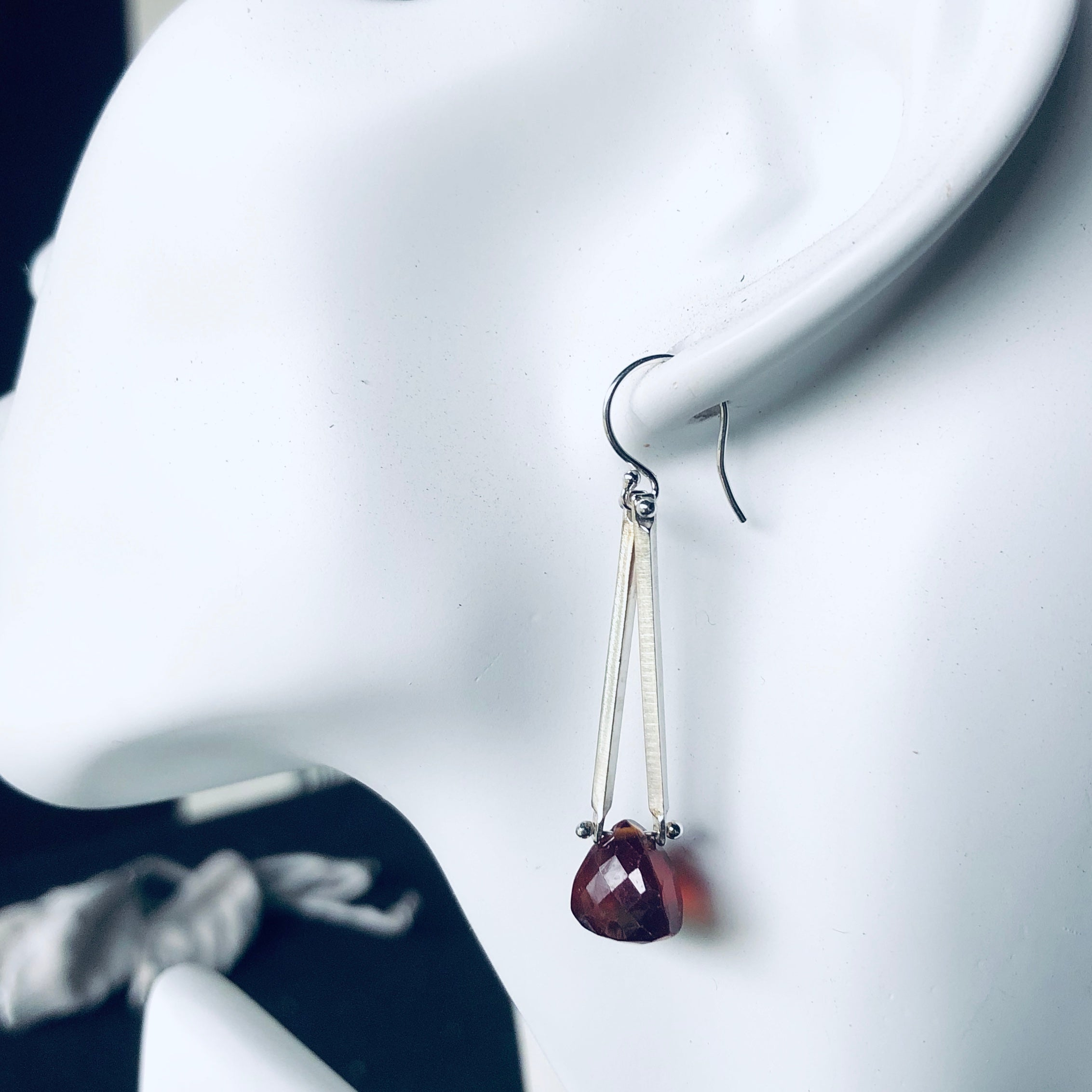 Double Twist stick earrings with gemstones-serena kojimoto studio
