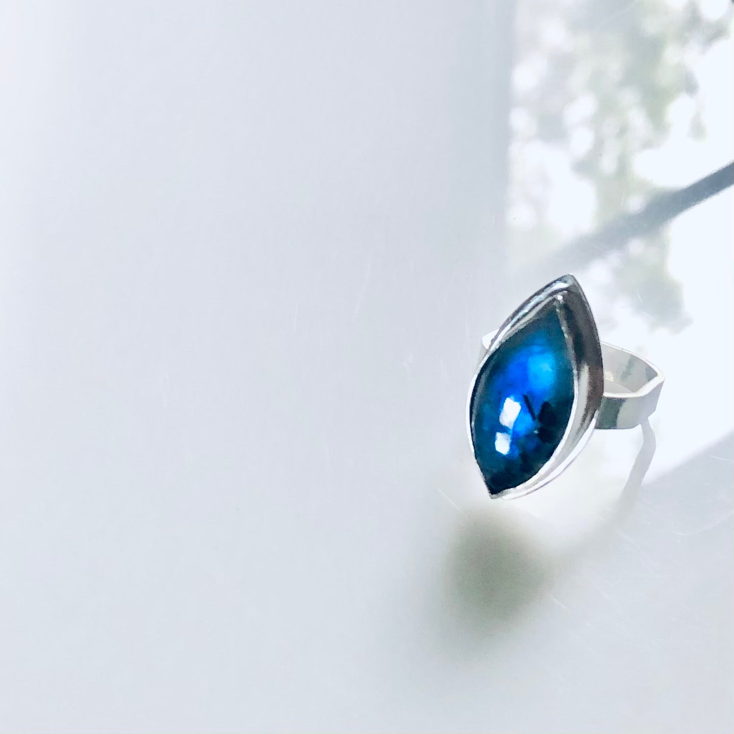Marquise black tourmilated rainbow moonstone ring-serena kojimoto studio