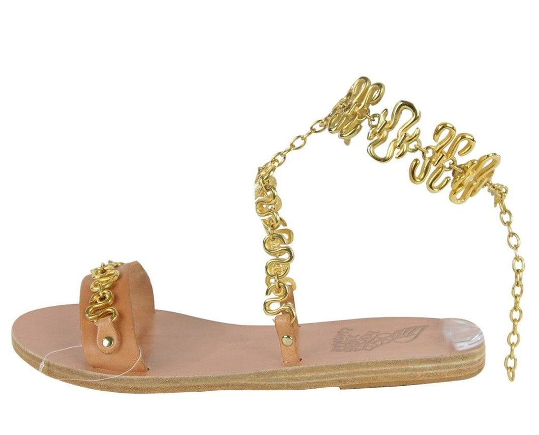 Ancient Greek Sandals | Gold Chain Ankle Strap Flat Sandal | Size 8