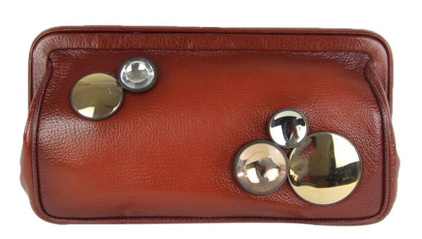 Leather Clutch Mirrors Spheres Detail