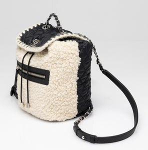 Chanel | Coco Niege Ecru Wool Black Nylon Quilted Backpack