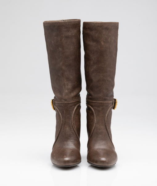 Brown Mid Calf Heeled Boot | Size 35.5 EU / 5.5 US
