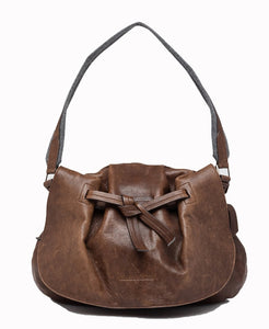 Brunello Cucinelli | Brown Leather Pouch w/ knot detail