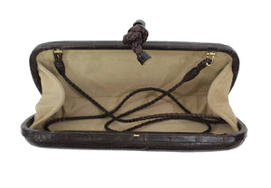 Bottega Veneta | Matte Brown Crocodile Knot Clutch