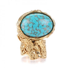 Load image into Gallery viewer, Yves Saint Laurant | Glass Bella Arty Ovale Ring 7 Gold Lapis | Size 7