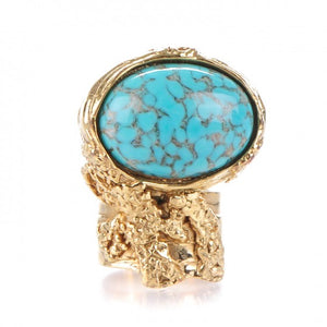 Yves Saint Laurant | Glass Bella Arty Ovale Ring 7 Gold Lapis | Size 7