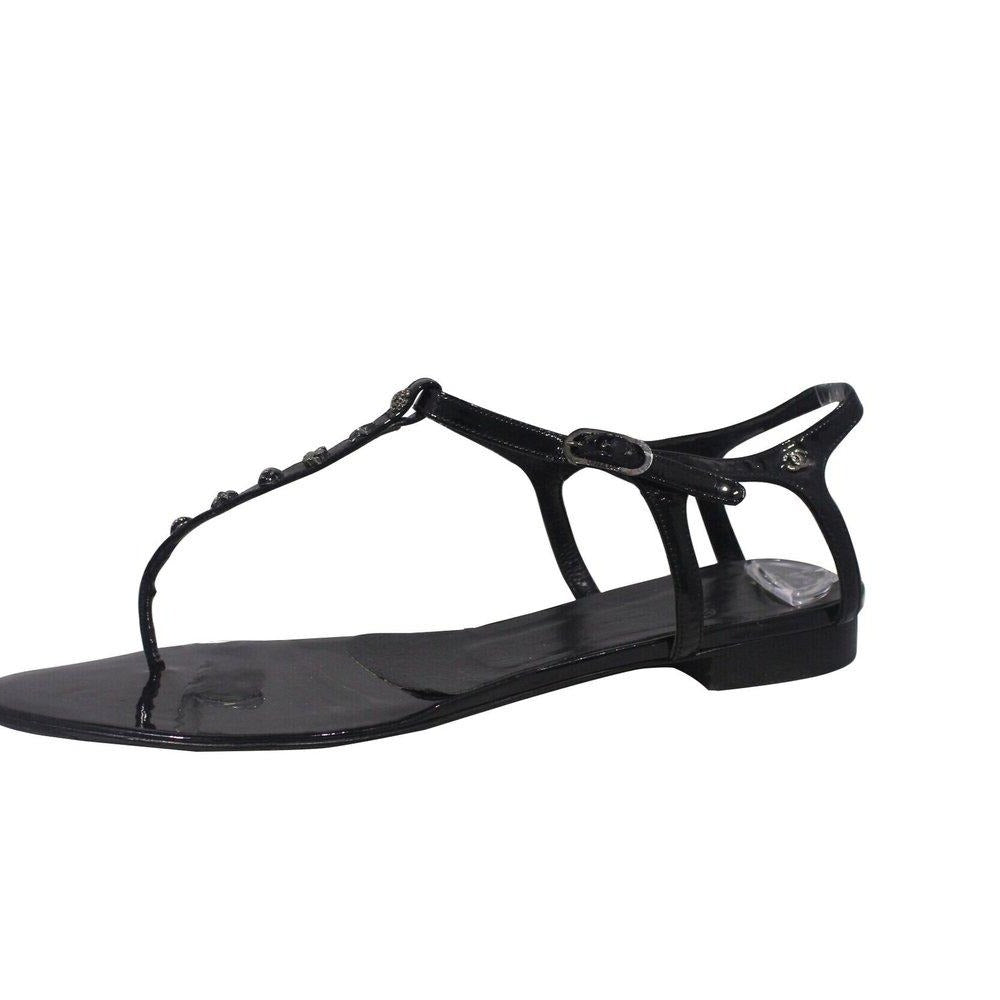 Chanel | Embellished Black Patent Thong Sandal Sz 40
