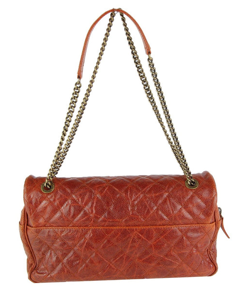 Burnt Red Quilted Caviar Flap Bag