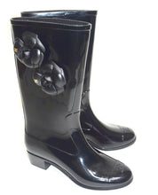 Load image into Gallery viewer, Chanel Camellia Black Rain Rubber Boots/Booties Sz 7.5/38