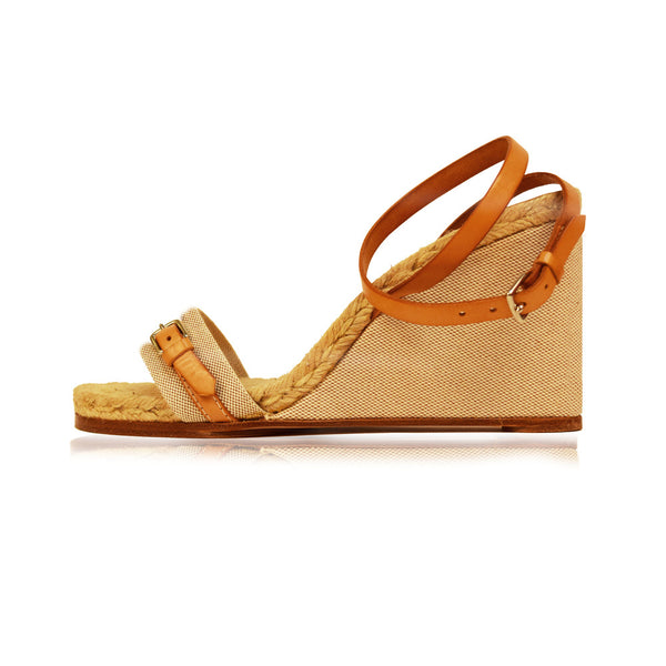 Hermes | Ankle Strap Canvas Wedge | Size 8.5