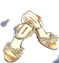Load image into Gallery viewer, Prada | Light gold strapy wedge sandal Sz 8 1/2