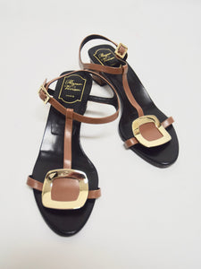 Roger Vivier | Strappy Leather Buckle Sandal Brown Sz 9.5/39.5