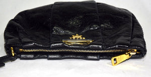 Prada | Daino Pleated Wristlet Black  (Nero)