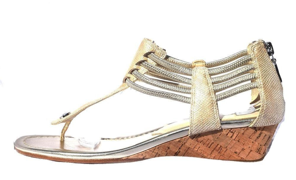 Leather and Cork Wedge Thong Sandal | Size 8