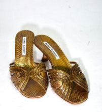 Load image into Gallery viewer, Manolo Blahnik | Gold Snakeskin Mule  Sz 6