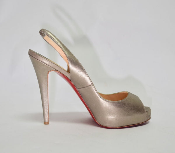 Red Sole Peep-Toe Oyster Gold Heels | Size 10.5 US / 40.5 EU