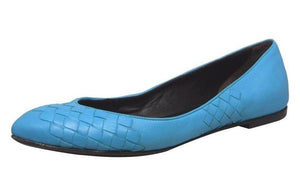 Turquoise Intrecciato Leather Flats Shoes  | Size 9 US / 39 EU