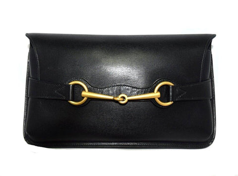 Gucci Black Horsebit Clutch