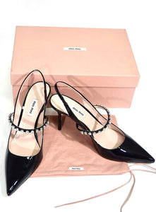 Miu Miu | Crystal-Strap Pointed-Toe Pumps  Sz 9/39