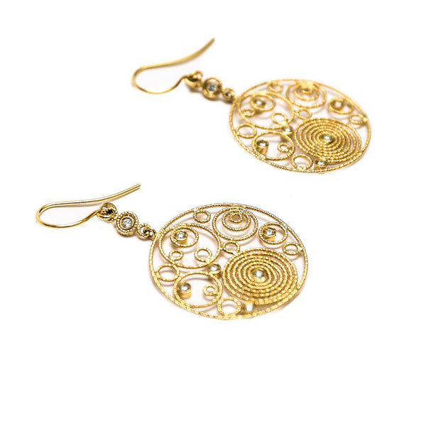 Roberto Coin |  Moresque Yellow Gold Bubble & Diamond Earrings